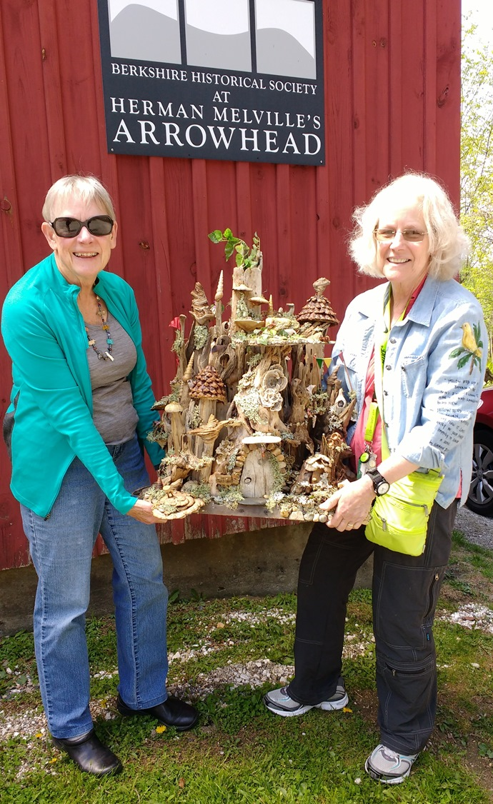 Carol and Kathy with fairy house 2017a